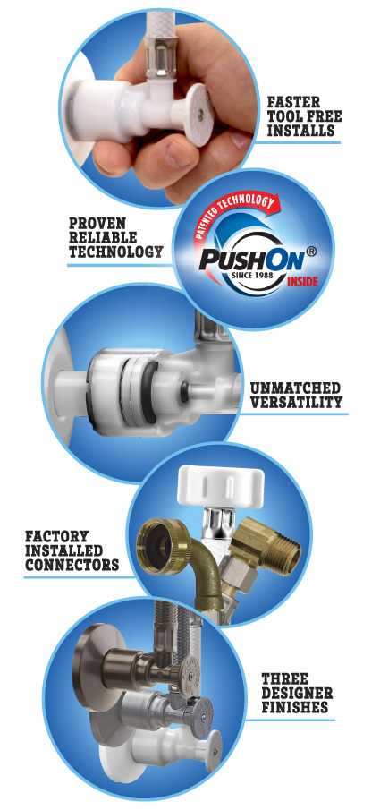 ACCOR Supply Stop Valves - Factory Installed Connectors - Tool Free Installation - Made in USA - Certified Lead Free