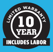 Ten year warranty - includes labor